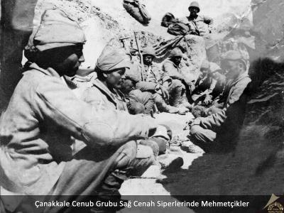 Çanakkale Cenub Grubu Sağ Cenah Siperlerinde Mehmetçikler